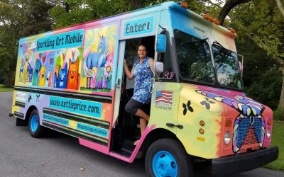 SAM, the Sparkling Art Mobile, will bring vibrant, quality creations to the November tiny house show!